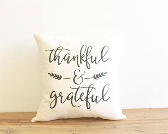 thankful and grateful pillow cover, farmhouse pillow cover, fall decor, thanksgiving, seasonal pillow, newlywed gift, housewarming gift