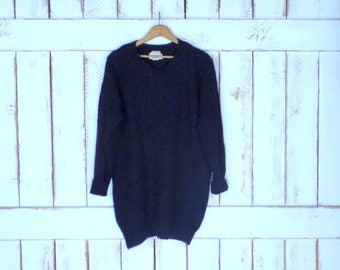 Vintage 90s black Ralph Lauren ribbed woven knit slouchy pullover sweater/long tunic sweater/lightweight sweater