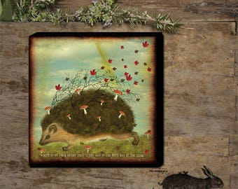 Hedgehog Hand - stretched Gallery Wrapped Canvas.
