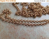 SALE High quality solid brass PETITE 4mm ROLO chain matte Gold plating  1 foot