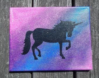 Unicorn Wall Art, Unicorn Painting, Canvas Painting, Hand Painted Wall Art, Wall Decor, Childrens Decor, Unicorn Art, Rainbow Unicorn