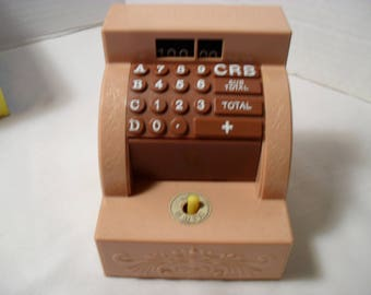 Vintage Wind Up or Mechanical Plastic Cash Register with Hand Coin or Piggy Bank