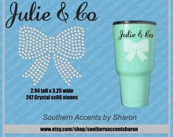 Rhinestone Bow with Name for Tumbler