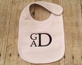 Stacked Block Monogram White Bib with Three Initials