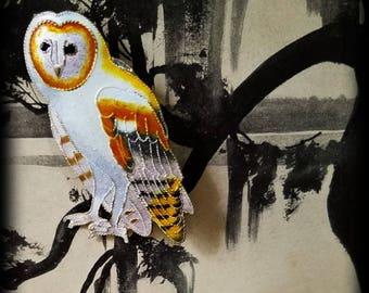 Sterling Silver Vermeil White Owl Brooch