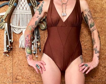 Vintage swimwear brown bathing suit, size 8 vintage swimsuit