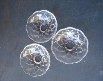 2 only Vintage older Candelabra chandelier Glass Bobeche cut glass bowls