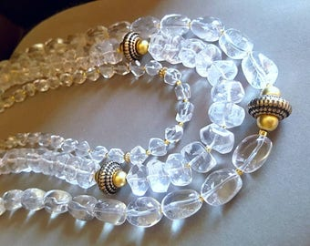 New! Multi Strand Statement Necklace Untreated Rock Crystal Quartz Bib Necklace with Antique Brass Accents Gift For Her