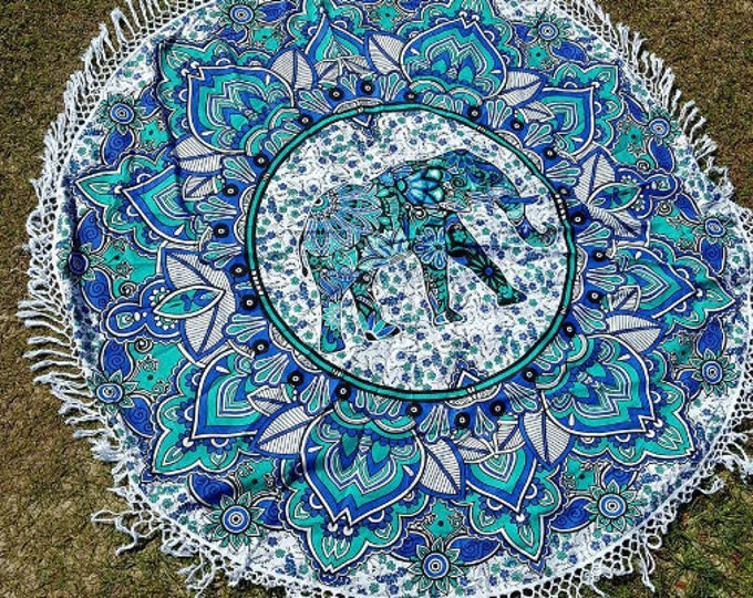 Blue Green Elephant Mandala Roundie with White Fringe Mandala Tapestry Beach Blanket Yoga Mat Meditation Mat Dorm Decor Hippie Tapestry