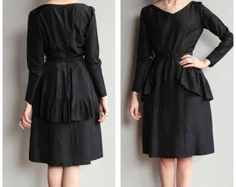 20% Off Sale // 1950s Dress // Peplum Party Dress // vintage 50s dress