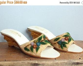 25% Off Sale // 1950s Slide Wedges // Mandarin Tourist Wedge Sandals // vintage 50s carved wedge sandals