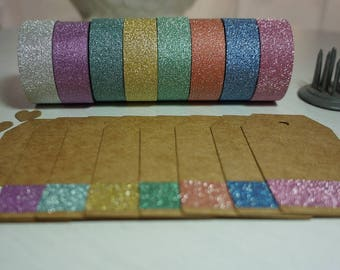 Glitter Washi Tape x 8 Rolls 15mm x 5m ~ Pastels ~ *Tags * Planners * Gift Wrap *Home Decor