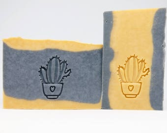 SoapRepublic 'Cactus Flowers 2' Acrylic Soap Stamp / Cookie Stamp / Clay Stamp