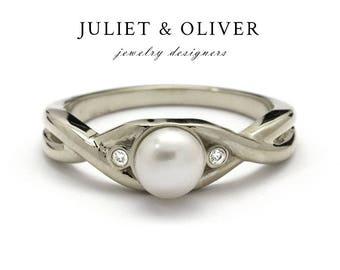 Pearl Eternity Ring - Pearl Infinity Ring - Pearl Eternity Gold Ring - Diamond Pearl Eternity Ring - Infinity Gold Ring Pearl and Diamonds