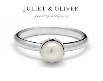 Gold Pearl Ring - Pearl Ring Gold - Pearl Ring White Gold – White Gold Pearl Ring – Dainty Pearl Ring - Classic Pearl Ring A