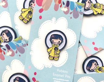 Coraline inspired cosplay enamel pin, Neil Gaiman inspired lapel pin, party supplies, pin flair