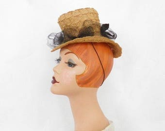 1930s vintage tilt hat, woman's straw Steampunk, NY Creation