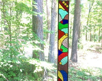 NEW stained glass panel art glass art suncatcher window treatment stained glass window