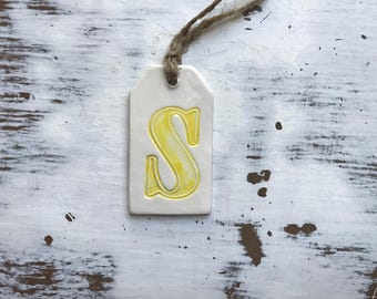 S Initial Ceramic gift tag/wine bottle tag