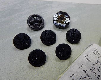 7 Floral   Black Glass Victorian Buttons w/ Metal Loop Shanks