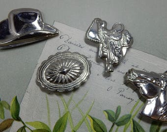 4 Southwestern Style Silver Button Covers: Horse, Hat, Saddle, Concho    OCD29