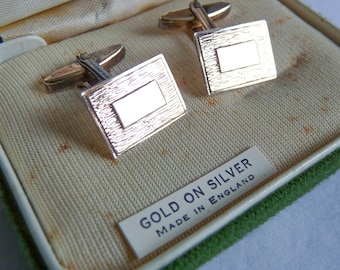 English Mid Century Gold Washed Sterling Silver Cuff Links Boxed Made in England