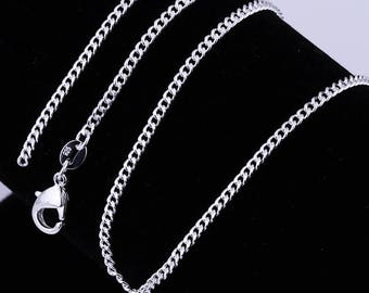 """925 Silver Filled 2MM Chain Necklace For Pendants 16""""18"""" 20"""" 22"""" 24"""""""