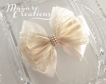 Ivory hair bow,flower girl hair bow,hair bow,wedding hair bow,hair accessories,hair bows,baby bows,hair clips,girl bows,bow hair clip,10