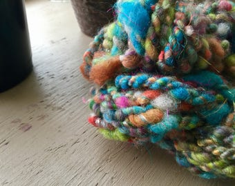 Handspun art yarn, bulky yarn, chunky yarn, 12 yards