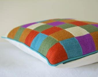 Multi Colour Embroidered Wool Cushion Cover, Bold Embroidered Retro Squares Pillow Cover, Graphic Woolen Embroidery on Cotton Pillow Cover