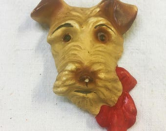 Vintage Chalkware Scottie Dog Wall Plaque Red Bow