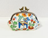 """Scandi novelty """"Dala Horse"""" frame coin purse with birds - floral, colorful, retro"""