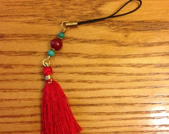 Coral & Turquoise purse or zipper charm