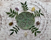 Greenery Ring Dish, A green bowl made using vintage lace texture, use it as a candleholder, key dish or as a smudging bowl for your altar.
