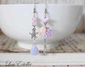 Pink Starfish earrings Pink Mermaid Earrings Asymmetrical earrings Beach Jewelry Sea Inspired Mermaid Jewelry Ocean earrings - Sweet Siren