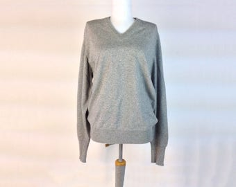 Vintage Cashmere Sweater  Gray Sweater  USA Made Cashmere  2 Ply Cashmere  V Neck Jumper Size Large  Long Sleeve Two Ply Cashmere Heathere