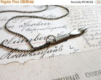 25% OFF SALE Vintage empire pen company calligraphy pen necklace, stainless steel, no. 23, Sincerely Yours