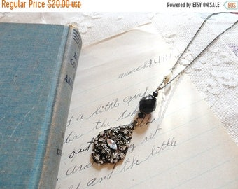25% OFF SALE Black and white themed decorative rhinestoned pendant necklace with jet black and pearl bead accents, Darkest Night