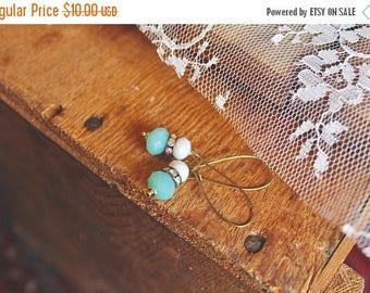 40% OFF SALE Semi transparent ice blue, rhinestone, and slate grey drop earrings, kidney wire earrings