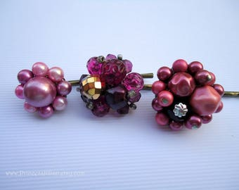Vintage earring hair pin- Mauve red pink purple fuchsia magenta raspberry beaded pearl crystal jeweled embellish decorative hair accessories
