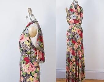 1930s Floral Print Gown / 30s Silk Bias Cut Dress