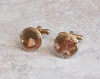 Round Gold Cufflinks Engravable Vintage V0635