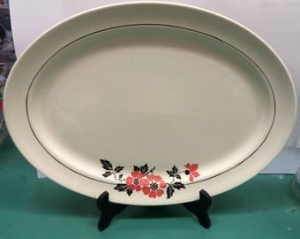 Vintage Hall's Superior Quality Kitchenware 13.5 inch Serving Platter Red Poppy 1930s 1940s 1950s Collectible Retro Mid Century Modern