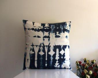 20 x 20 Bleach Shibori Pillow Cover -  in Indigo /  Navy Blue