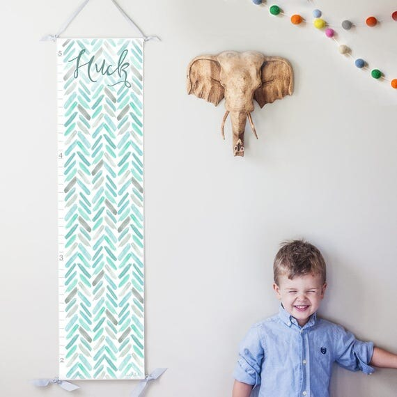 Personalized Blue and Turquoise Watercolor Chevron Growth Chart