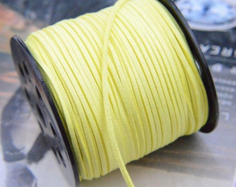 10 yds suede leather String, faux suede string, Jewelry link, faux leather cord, Mala string, Vegan suede cord, Lemon suede cord 2.5mm