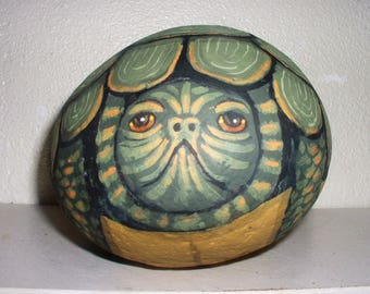 LARGE PAINTED TURTLE Wildlife ! Painted Rock Collectible !
