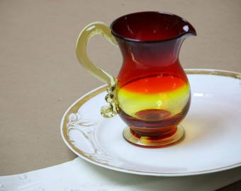 Vintage Amberina Glass Pitcher Jug Hand Blown Yellow to Red Pulled Glass Handle Country Window Decor Hand Made