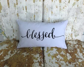 Blessed Cotton Canvas Believe Burlap Pillow Rustic Country Farm House Throw Accent Pillow Custom Colors Available Home Decor Christmas