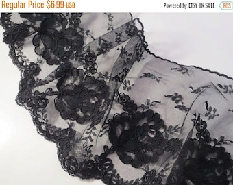ON SALE SPECIAL--Black Delicate Re-embroidered Single Edge Lace Trim--One Yard